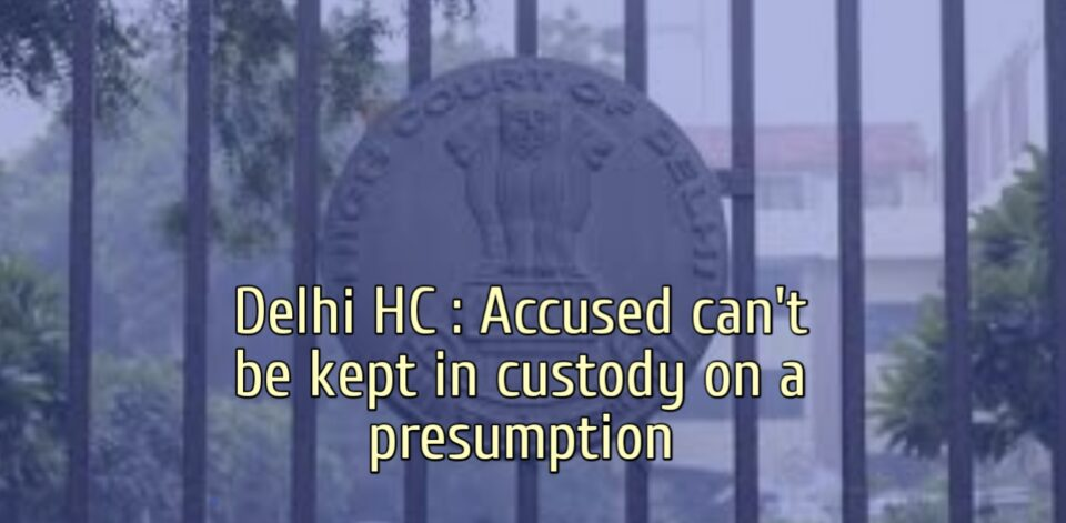 Delhi HC : Accused can not be kept in custody on a presumption